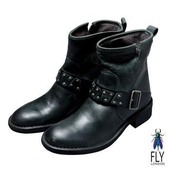 Fly London(女)★小圓釘造型扣 微跟中筒靴 - 深灰