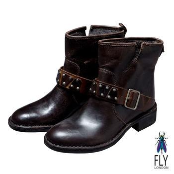 Fly London(女)★小圓釘造型扣 微跟中筒靴 - 深咖啡