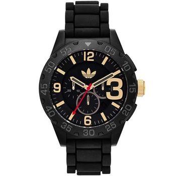 adidas Newburgh‧手榴彈風格矽膠腕錶-黑色x金刻〈ADH2905〉