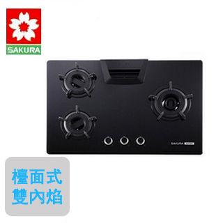 【櫻花SAKURA】G-2732GB雙內燄安全檯面式三口瓦斯爐(黑玻璃/天然瓦斯)
