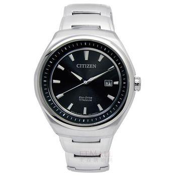 CITIZEN Eco-Drive 簡約紳士 藍寶石玻璃鈦金屬腕錶 黑色 43mm / AW1251-51E