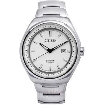 CITIZEN Eco-Drive 簡約紳士 藍寶石玻璃鈦金屬腕錶 白色 43mm / AW1251-51A