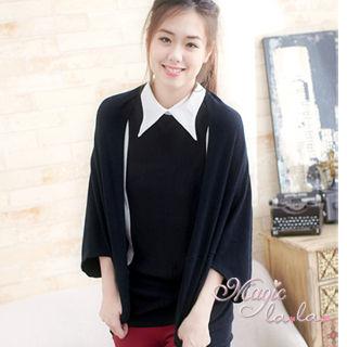 【魔法拉拉】羊絨感極暖連袖罩衫外套A486(動人黑)