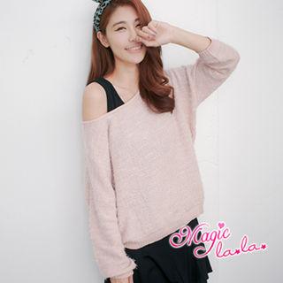 【魔法拉拉】唯美簡約針織上衣A229(嫩粉紅)