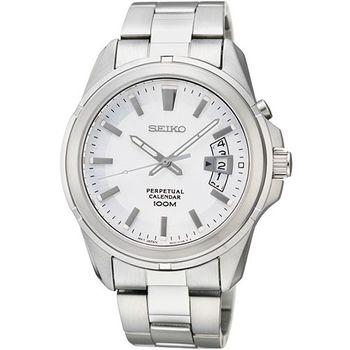 SEIKO CS 尊爵萬年曆時尚腕錶-銀 6A32-00W0S