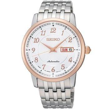SEIKO PRESAGE 豪邁專業4R36機械腕錶-銀/玫塊金框  4R36-01N0P