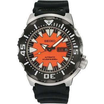 SEIKO Prospex 海龍潛水機械腕錶-橘/黑  4R36-01J0O