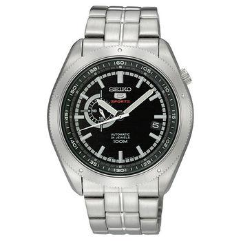 SEIKO 4R37 偏心時尚機械腕錶-黑/銀 4R37-00G0D