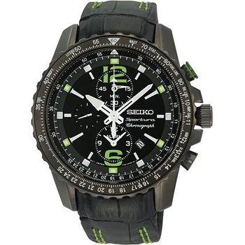 SEIKO Sportura 二地時區鬧鈴計時腕錶-黑 7T62-0LA0G
