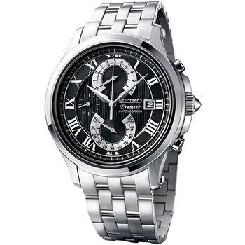 SEIKO Premier 雙逆跳計時功能腕錶-黑  7T85-0AC0D