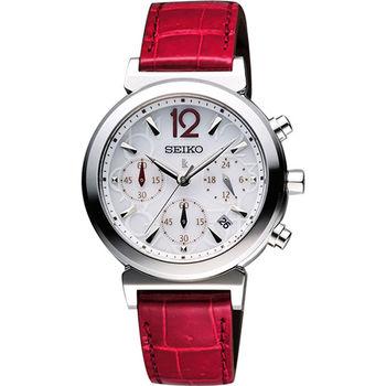 SEIKO LUKIA 太陽能甜美三眼計時碼腕錶-銀x紅色錶帶  V175-0AJ0J
