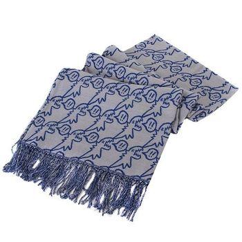 agnes b.- SPORT b.系列藍框線塗鴉恐龍流蘇圍巾/披巾(灰底)