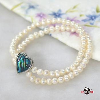 【HEMAKING】愛心彩貝 5mm 珍珠雙環手鍊