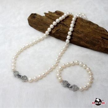【HEMAKING】純天然 8mm 淡水珍珠項鍊/手鍊 ※幸福 (套飾組)