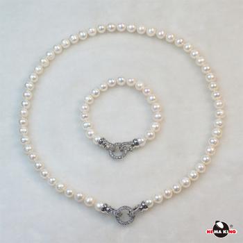 【HEMAKING】純天然 8mm 淡水珍珠項鍊/手鍊 套飾組 ※圓滿