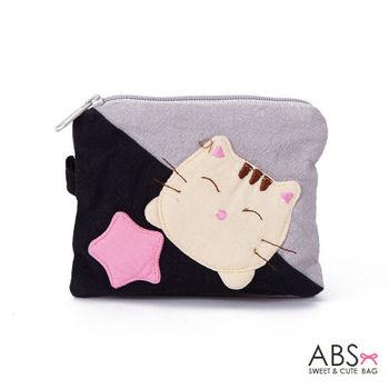 【ABS貝斯貓】可愛貓咪拼布複合式證件零錢包(黑色88-139)