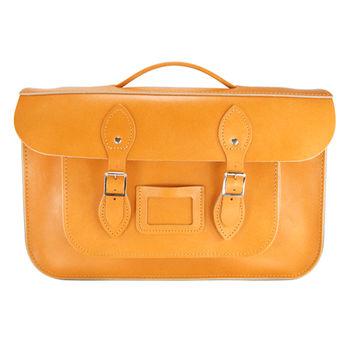 【The Leather Satchel Co.】15吋 英國手工牛皮劍橋包 (駝黃)