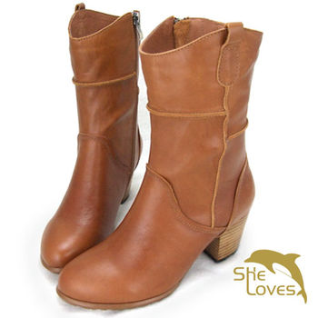 【SHELOVES喜樂絲】復古刷色質感率性木紋粗跟氣墊中筒靴(2H14B04)