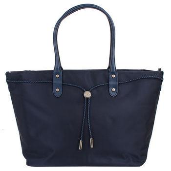 agnes b.-  帆布麻繩束袋手提包(大/深藍)