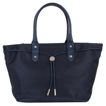 agnes b.- 帆布麻繩束袋手提包(小/深藍)