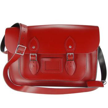 【The Leather Satchel Co.】14吋 英國手工牛皮劍橋包 (心機紅)