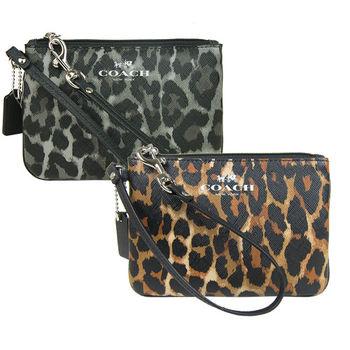 COACH 馬 LOGO豹紋PVC手拿包(2色選)-F52143