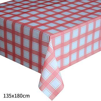 【巴芙洛】小格子紅色防水桌巾135×180