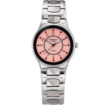 BOSSWAY優雅個性鎢鋼腕錶-黑-粉紅-34mm