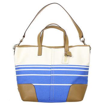 COACH-條紋帆布駝皮革滾邊底西釦手提肩背包(藍白)