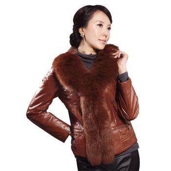 IKON名媛時尚狐狸毛領皮外套
