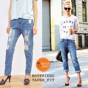 南加州丹寧時尚 SoCal Lover Jeans Co.-淺藍破壞勾錐男友褲