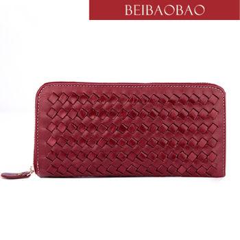 【BEIBAOBAO】法式 編織真皮時尚皮夾(共四色:甜莓紅 古銅咖 輕甜杏 天際籃)