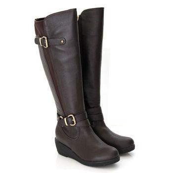 【GREEN PHOENIX 波兒德】全真皮中性品味彈性萊卡拼接皮革雙皮飾扣楔型馬靴-咖啡色