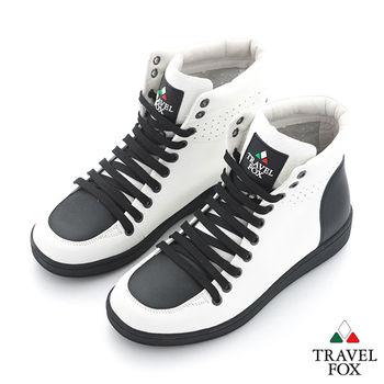 Travel Fox(男) SEXY-性感大膽 撞色高筒休閒鞋 - 熊貓白