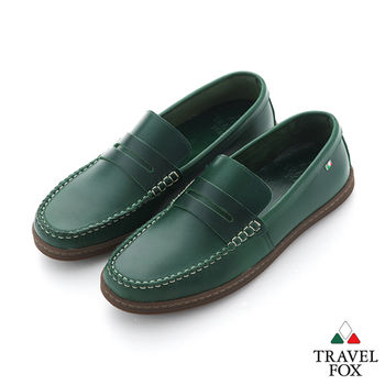 Travel Fox(男) STYLE-風格流行 植染蠟皮直套手工旅狐休閒鞋 - 綠