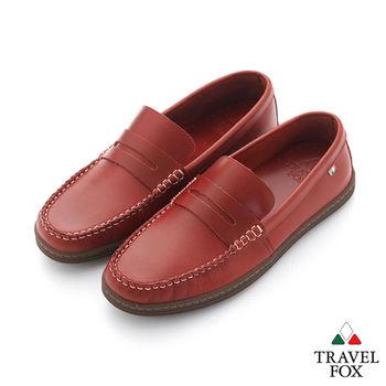 Travel Fox(男) STYLE-風格流行 植染蠟皮直套手工旅狐休閒鞋 - 紅