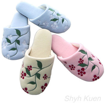 MORINO摩力諾刷毛絨綉花室內拖鞋4雙組
