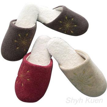 MORINO摩力諾螞蟻絨綉花室內拖鞋4雙組