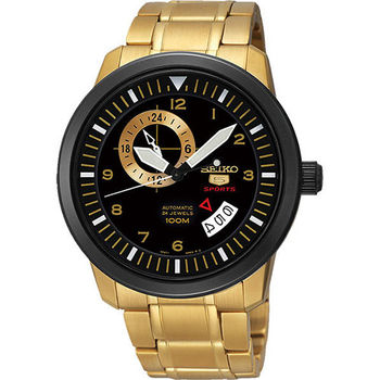 SEIKO 精工5號盾牌24石機械腕錶-黑x金  4R37-00Z0K