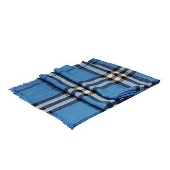BURBERRY 經典輕盈格紋初羊毛絲綢大披肩/圍巾(淺靛藍)3921778-LIG IND CHECK