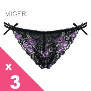 [MIGER密格內衣]鏤空蕾絲網紗性感中低腰三角褲-黑色+紅色+葡萄紫