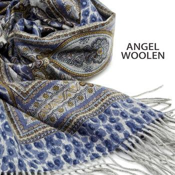 【ANGEL WOOLEN】雙面羊絨厚披肩(藍花豹紋)