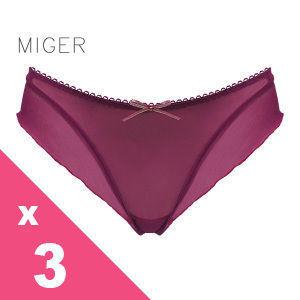 [MIGER密格內衣]飄逸半透明網紗性感中低腰丁字褲-葡萄紫+紅色+咖啡色