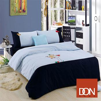 【DON】 頑皮猴 蜜絲絨貼布繡雙人四件式被套床包組