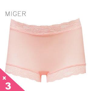 [MIGER密格內衣]薄紗蕾絲中腰平口內褲-柑色+粉紫色+黃色