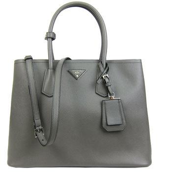 PRADA Double Bag系列防刮牛皮肩背/手提托特包(大/灰)-B2756T