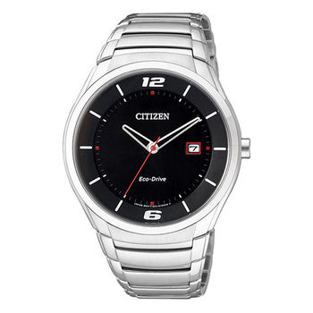 CITIZEN Eco-Drive 運動風簡約光動能腕錶-黑x銀  BM6951-57E