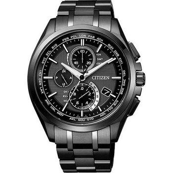 CITIZEN 【鈦】金屬萬年曆5局電波腕錶-黑  AT8044-56E