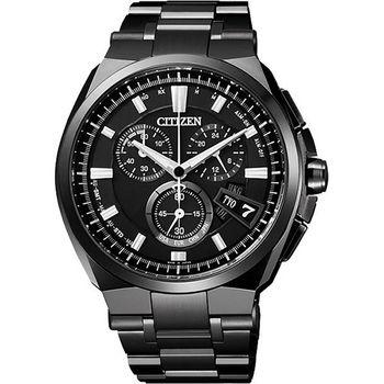 CITIZEN 【鈦】金屬萬年曆5局電波腕錶-黑  BY0044-77E