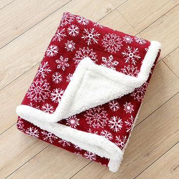 【BELLE VIE】繽紛雪花 羔羊絨隨意毯(125X160cm)